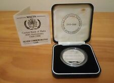 VERY RARE CENTRAL BANK OF MALTA ANNIVERSARY 1988 SILVER PIEDFORT PROOF COIN