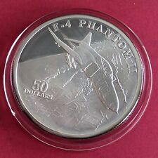 F-4 PHANTOM II 1995 $50 1oz .999 FINE SILVER PROOF  - marshall islands