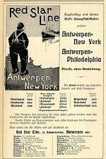 RED STAR LINE Antwerpen POST- DAMPFSCHIFFAHRT USA  Historische Reklame von 1905