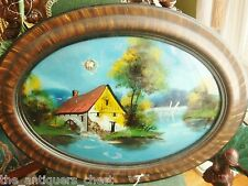 Antique Convex Bubble Glass Wood Frame House in the Lake oval REVERSE PAINTING