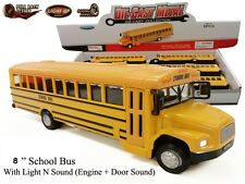 "New York Diecast Metal Yellow School Bus Pullback Motor Action 8 "" Sound & Light"