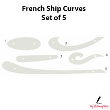 FRENCH SHIP CURVES SET OF 5 Rulers Technical Drawing Stencil Template Fashion