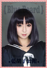 Sailor Moon Saturn Hotaru Tomoe short Black Purple Hair Cosplay Costume Wig