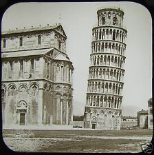 Glass Magic Lantern Slide LEANING TOWER OF PISA C1890 PHOTO ITALY TUSCANY
