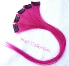 """14""""Hot Pink Human Hair Clip On Extensions(5pcs) for Highlights"""