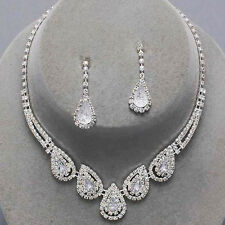 Clear teardrop clear diamante necklace set prom bridal party jewellery 0186