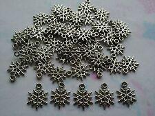 50 pcs silver tone acrylique flocon de neige charm/pendentifs 20 x 16 x 1.5mm
