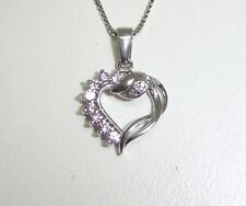 """HEART PENDANT NECKLACE WITH PINK GLASS STONES SET IN STERLING SILVER 17""""  N6-B"""