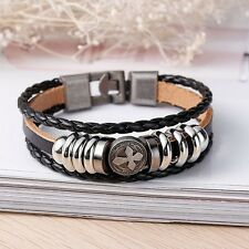Leather braided metal stud CELTIC CROSS Men's woman's wristband surfer bracelet