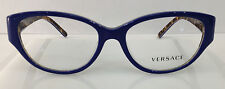 Versace 3183 5085 Blue Plastic Frames 52-16-140 Italy Eyeglasses Women Cat Eye