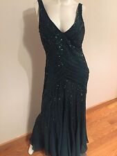 Sexy Evening Dress For Women Size 14-16 Green With Sequence And V Nec
