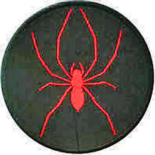 Iron On/ Sew On Embroidered Patch Badge Spider Red on Black Circle