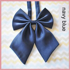 Women Girl Sailor School Pre-tied Satin Bowtie Bow Neck Tie Cravat Navy blue