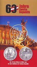 5x Österreich 10 Euro 2005 Silber 60 Jahre Zweite Republik hgh im Blister