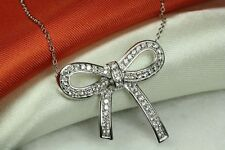 CUTE AND UNIQUE CLEAR CZ ENCRUSTED BOW TIE NECKLACE 925 STERLING SILVER~~MXMSAT