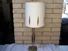 Vtg LAUREL Tempestini MID CENTURY MODERN Sculptural BRASS /WALNUT Table Lamp MCM