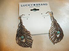 Lucky Brand Silver Tone Feather Dangle Turquoise Drop Earrings NWT $29