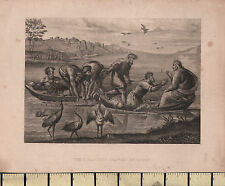 c1835 GEORGIAN PRINT ~ THE MIRACULOUS DRAUGHT OF FISHES