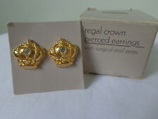 US AVON Vintage Regal Crown Crystal Stud Earrings Jewelry 1989 Collection Nice