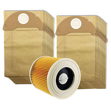 Karcher Wet & Dry A2004 A2014 Car Vacuum Cleaner Filter & Pack of 20 Dust Bags
