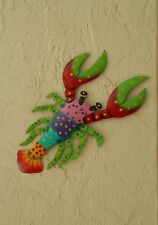 """OUTDOOR COLORFUL 10"""" METAL HAITIAN LOBSTER HANGING WALL ART TIKI TROPICAL DECOR"""