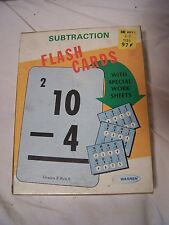 VINTAGE WARREN SUBTRACTION MATH FLASH CARDS WITH  WORKSHEET GAME
