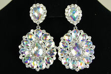 BRIDAL WEDDING  CLEAR+AB RHINESTONE DANGLE / CHANDELIER BRIDESMAID CLIP EARRINGS