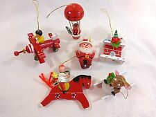 Vintage Wood Christmas Ornaments Set of 6 Red Airplane Horse Sled Balloon Ski