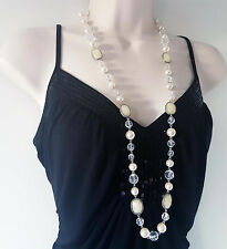 "Beautiful 36"" long silver tone - chunky faux pearl & clear bead necklace   #346"