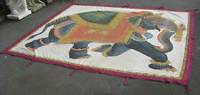 VERY LARGE ATTRACTIVE VINTAGE INDO PERSIAN PAINTED SILK WALL HANGING BANNER