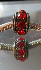 Beautiful Red Czech Crystal Silver Spacer Bead fits Chamilia/ European Bracelet