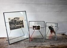 "Antique Zinc & Glass Picture Photo Frame 5 x 7"" - Danta by Nkuku - Light Grey"