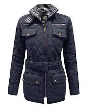 Nouveau Femme Matelassé Rembourré Ceinture pour femme gold zip veste manteau top tailles 8-14