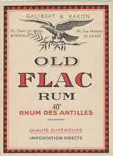"""OLD FLAC RUM / GALIBERT & VARON Bordeaux & Le Havre"" Etiquette litho originale"
