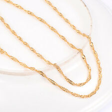 Womens Boys Yellow Gold Filled Twisted Rope Wave Chain long necklace Party