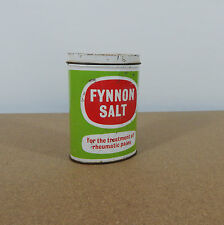 Vintage empty Fynnon Salt tin for the treament of Rheumatic pains 11cm tall lft.