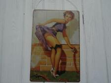 VINTAGE RETRO STYLE METAL WALL SIGN PLAQUE PIN-UP GLAMOUR GIRL COOLING DOWN!