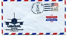 FFC 1985 First Flight UsAir Green Bay Pittsburgh Nonstop US Postal Service