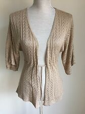 Women Cardigan Thin Gold Knit Size M (10-12) (06)