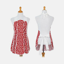New American Hostess Retro Full Apron, Red With White Polka Dots Design