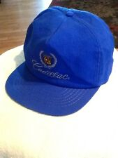 Vintage Cadillac Hat blue nylon leather strap----EUC