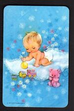 Valentine Swap Card - Cute Baby Playing on Rug (BLANK BACK)