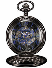 Black Steampunk Half-Hunter Blue Mechanical Skeleton Men's Pendant Pocket Watch