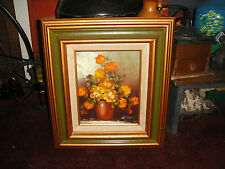 Vintage Oil Painting On Canvas-Bouquet Of Flowers-Signed H Clayton-Harold?-LQQK