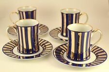 Fitz & Floyd Egyptian Tutankhamun King Tut Blue Gold China Cup & Saucer Set of 4