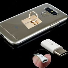 For LG G5 Accessory Hard Clear Case + Type C Converter Cable + 360° Ring Holder
