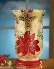 Crackled Glass Poinsettia Hurricane Flower Vase Candle Holder Floral Centerpiece