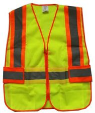 New Yellow Mesh Reflective Safety Vest Pockets for Running Construction Size M/L
