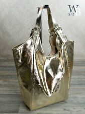 Ital. XXL Shopper  Schulter Damen Tasche in GOLD Metallic-Optik  ECHT LEDER 928G