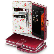 Premium PU Leather Wallet Case for Sony Xperia XZ - Red with Floral Interior